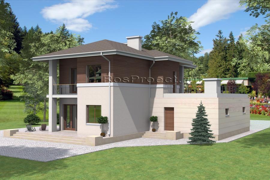 Двухэтажный дом с большой террасой над гаражом rpg1040 в кар.